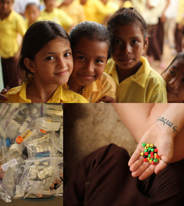 Clockwise from top left: School girls; salvation beads; medications.