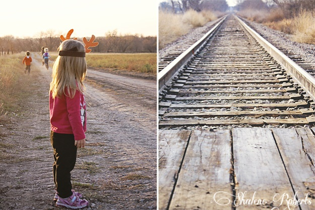 The great-grandchildren on the farm; a railroad track that runs through the property.