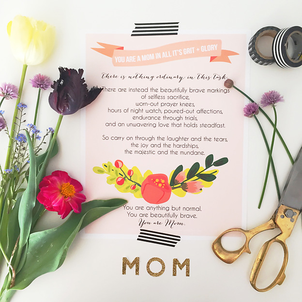Beautifully Brave, FREE Tribute to Moms Printable | Faith and Composition